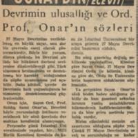 Devrimin Ulusallığı ve Ord. Prof. Onar'ın Sözleri