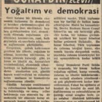 Yoğaltım ve Demokrasi