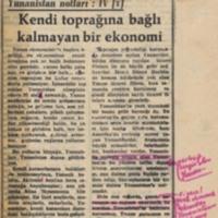 Yunanistan Notları IV: Kendi Toprağına Bağlı Kalmayan Bir Ekonomi