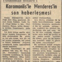 Yunanistan Notları I: Karamanlis'le Menderes'in Son Haberleşmesi